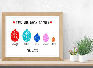 Personalised Durian Family Print - Personalised Prints - Big Red Chilli - Naiise