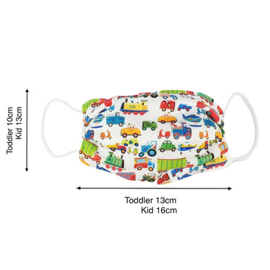 Toddler / Kids Reusable Dri-Fit Face Masks - Vehicles - Fabric Masks - Zigzagme - Naiise