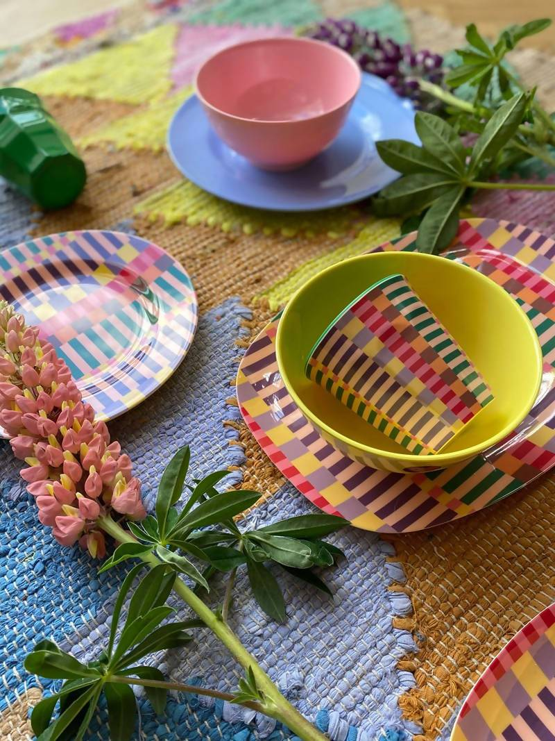 Melamine Cup with Summer Stripes Print - Two Tone -Medium - Drinkware - The Children's Showcase - Naiise