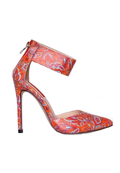 Ciara Orange Batik Printed High Heels - Women Shoes - Glamorbit - Naiise