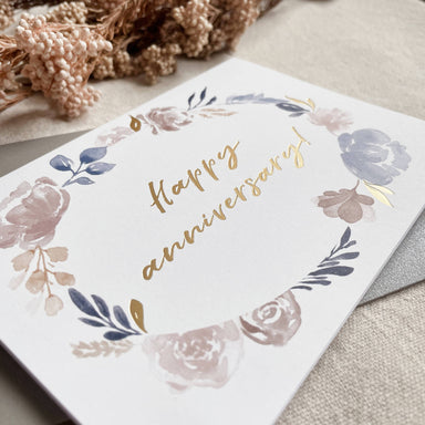 Happy Anniversary | Gold Foiled Greeting Card - Anniversary Cards - Papercranes Design - Naiise