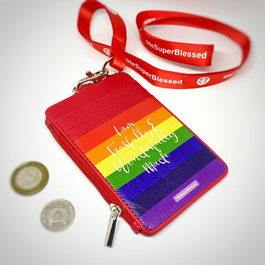 I am FearFully & Wonderfully Made Rainbow Red Zipped Cardholder Coin Pouch Lanyard Set - Wallets - The Super Blessed - Naiise