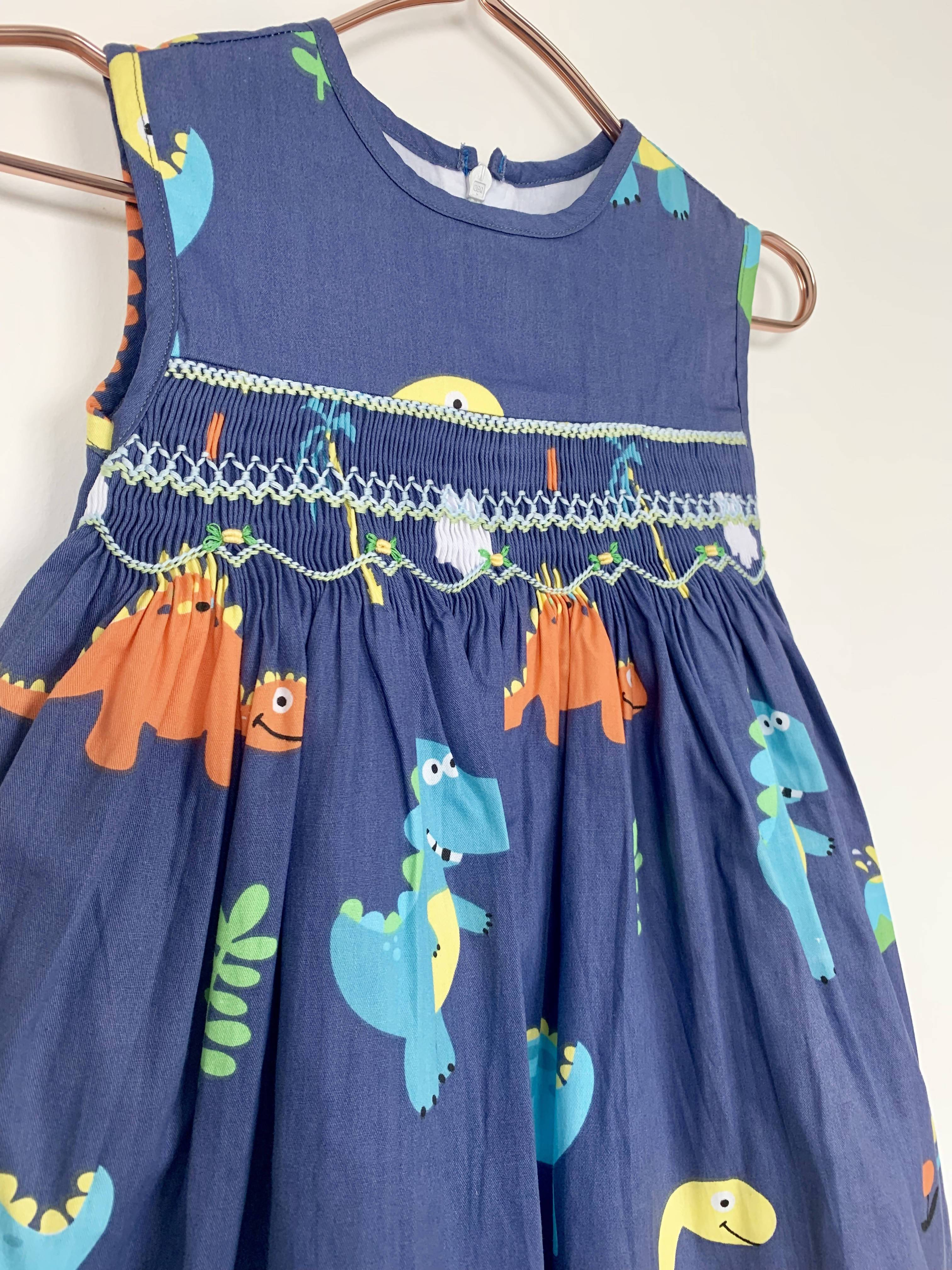 Dino Dress With Embroidered Flowers - Kids Clothing - Smockful Of Love - Naiise