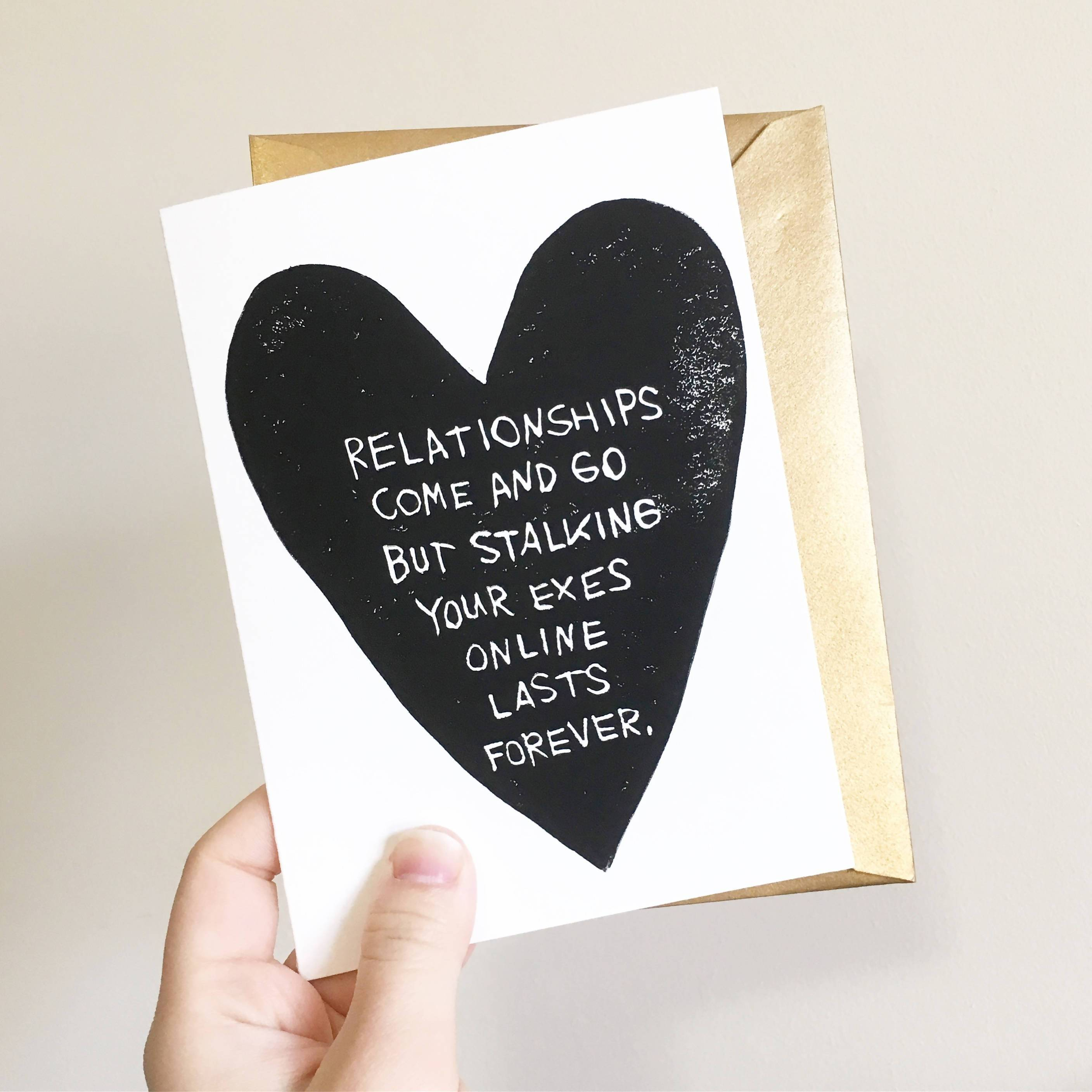 Stalking Your Exes - Hand-Printed Greeting Card - Valentine's Day Cards - Ping Hatta. Studio - Naiise