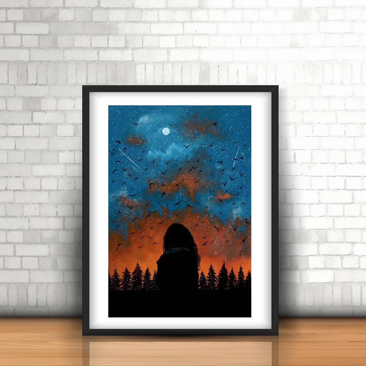 A Girl at Starry Night Watercolour Art Print - Art - Sketchyo - Naiise