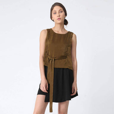 Jean Fold Back Top With Sash in Olive Green - Women's Tops - Salient Label - Naiise