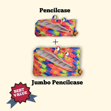 Zipit Pixel Yellow Monster Pencilcase + Jumbo Pencilcase Bundle Gift Sets Zigzagme Best Value Bundle Deal