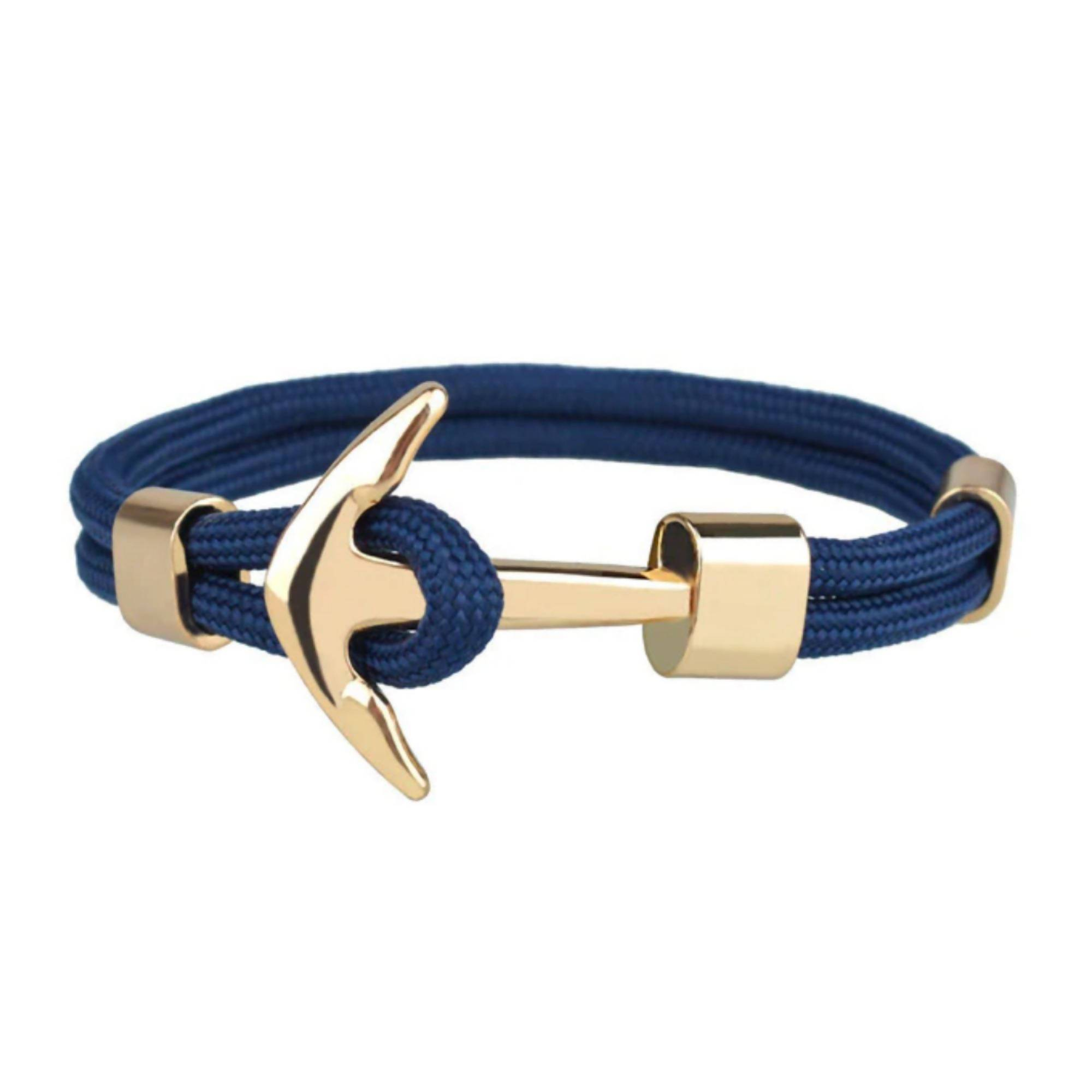 J. By Jee Basic Gold Anchor Bracelet (Blue Stripe) Men's Bracelets J By Jee