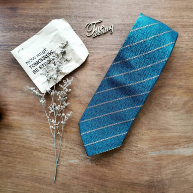 Necktie Sea Turquoise Stripe (Green/Blue) | 8cm - Ties - Tuesday Evening - Naiise