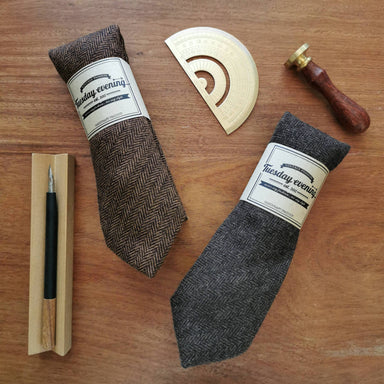Necktie Herringbone Wool Black Grey | Brown - Ties - Tuesday Evening - Naiise