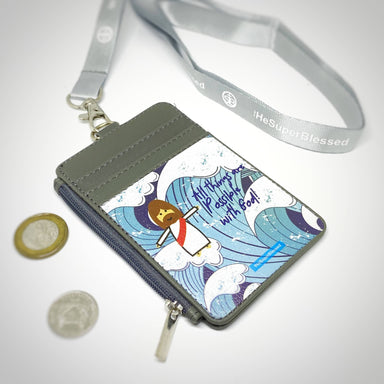 All Things are Possible with God Blue Waves Grey Zipped Cardholder Coin Pouch Lanyard Set - Wallets - The Super Blessed - Naiise