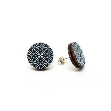 Dark Blue Petals Wooden Earrings - Earring Studs - Paperdaise Accessories - Naiise