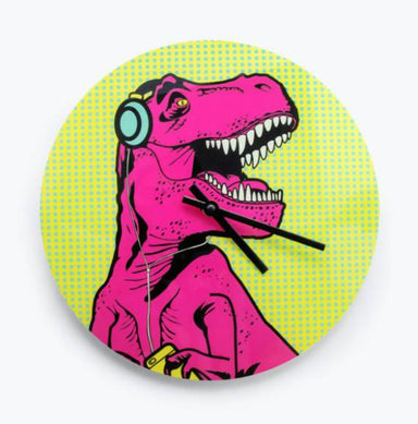 Mustard T-Rex Clock Clocks The Planet Collection
