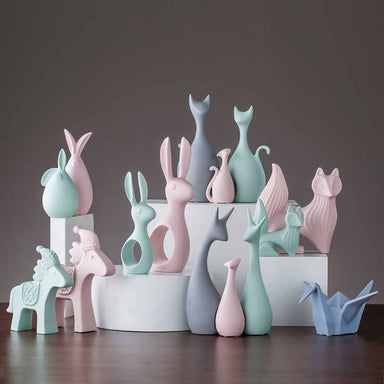 Macaron Ceramic Set of 2 Balloon Bunny Figurine - Nursery Décor - After Organic - Naiise