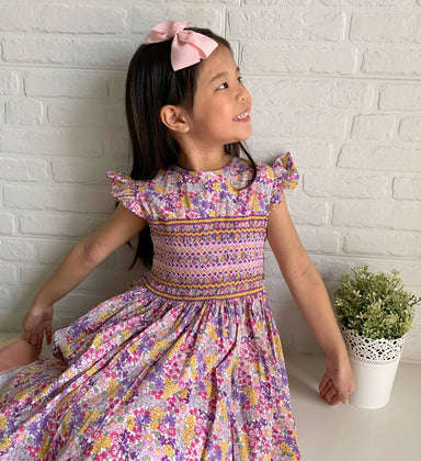 Fleur Dress with Geometric Embroidery - Kids Clothing - Smockful Of Love - Naiise