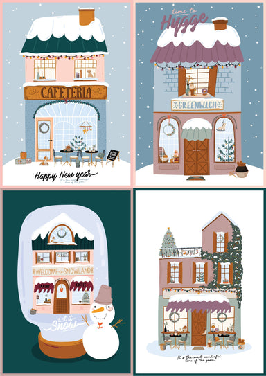Christmas Greeting Cards - White Christmas Houses - Christmas Cards - Loopy Fruppy - Naiise
