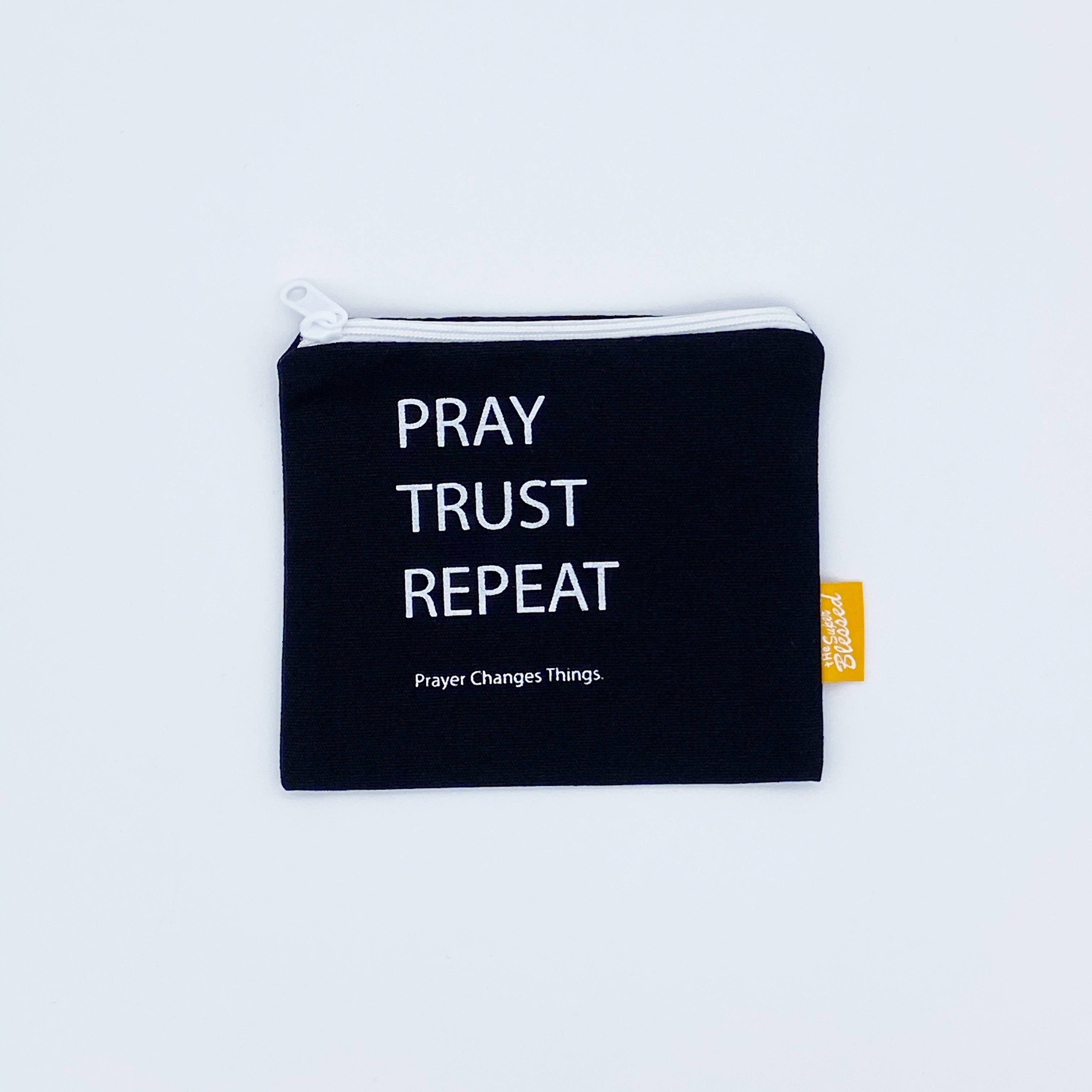 Coin pouch 11x13cm Pray Trust Repeat Coin Pouches The Super Blessed Coin pouch 11x13cm Pray Trust Repeat