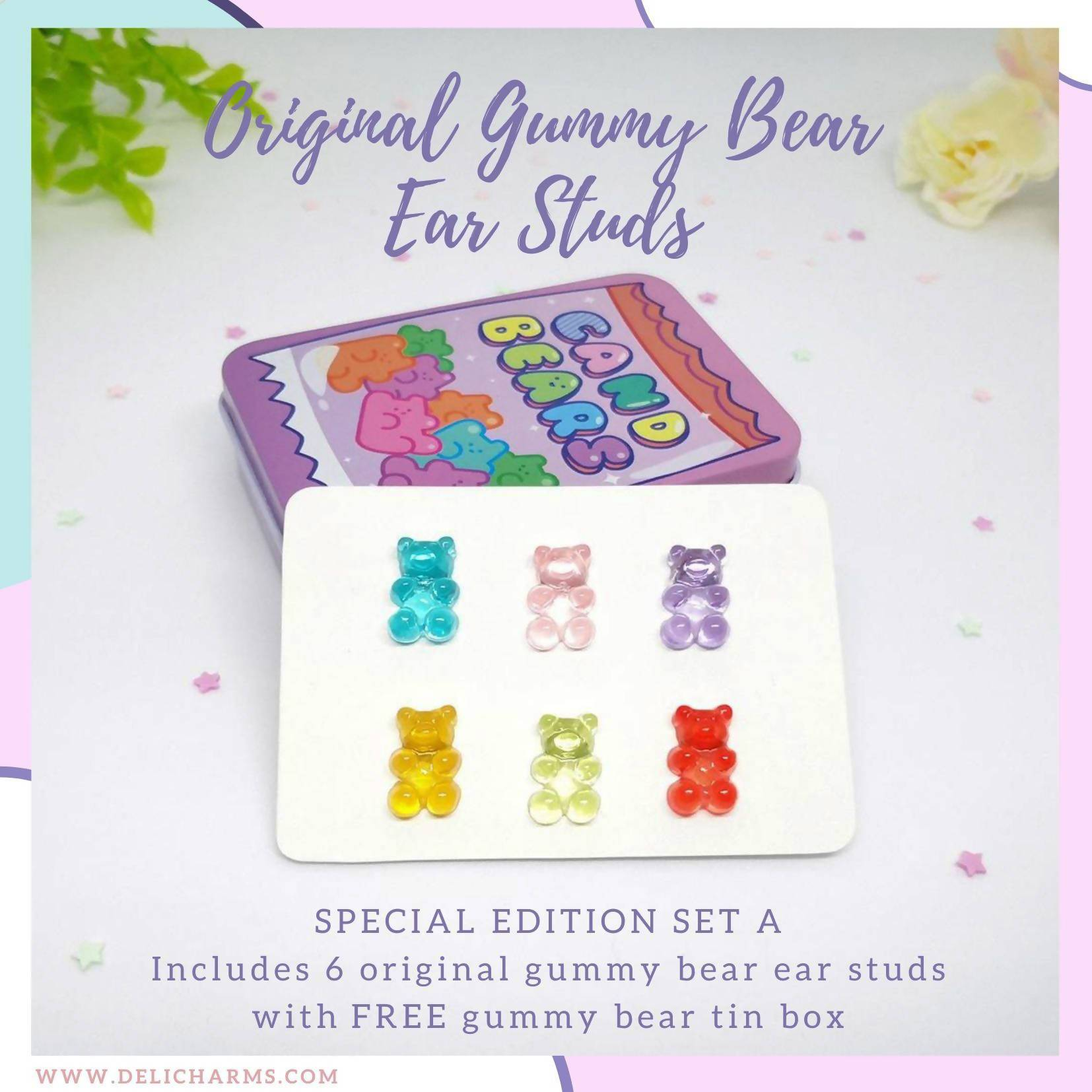 Cute Gummy Bears Earrings Set (Original or Sour) - Earrings - Deli Charms - Naiise