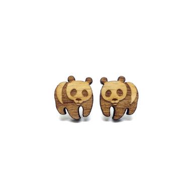 Adorable Panda Laser Cut Wood Earrings Earrings Paperdaise Accessories