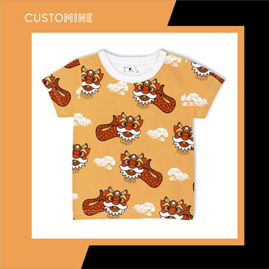 Ang Ang Merlion Dance Kid's T-shirt Local Baby Clothing CUSTOMINE 1-3Y Orange