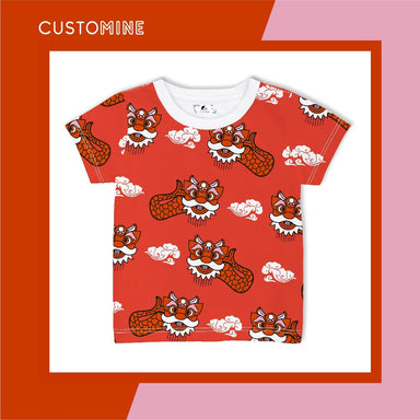 Ang Ang Merlion Dance Kid's T-shirt Local Baby Clothing CUSTOMINE 1-3Y Red
