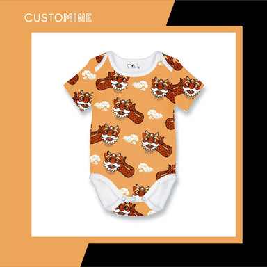 Ang Ang Merlion Dance Romper Local Baby Clothing CUSTOMINE 0-3M Orange