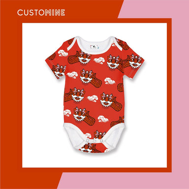 Ang Ang Merlion Dance Romper Local Baby Clothing CUSTOMINE 0-3M Red