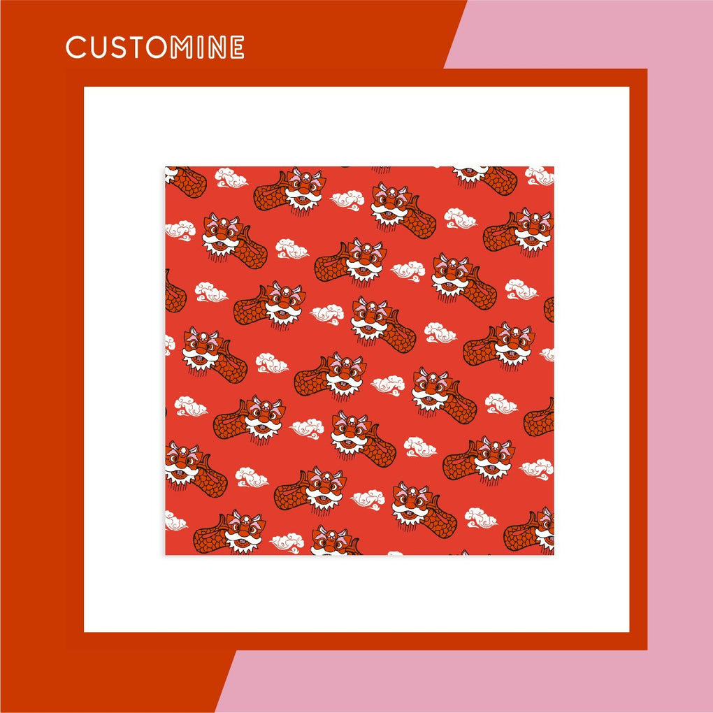 Ang Ang Merlion Dance Scarf Local Scarves CUSTOMINE 90cm*90cm Red