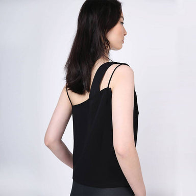 Aoi Asymmetric Neckline Top in Black Women's Tops Salient Label