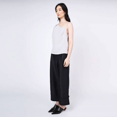 Aoi Asymmetric Neckline Top in Warm Grey Women's Tops Salient Label