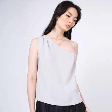 Aoi Asymmetric Neckline Top in Warm Grey - Women's Tops - Salient Label - Naiise