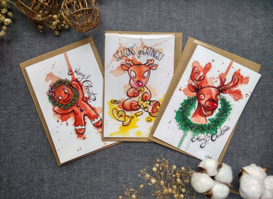 Adorable Christmas Cards Set A (3 cards) - Christmas Cards - Piranhadogg - Naiise