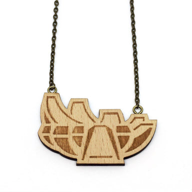 ArtScience Museum Wood Pendant Necklace Necklaces Paperdaise Accessories