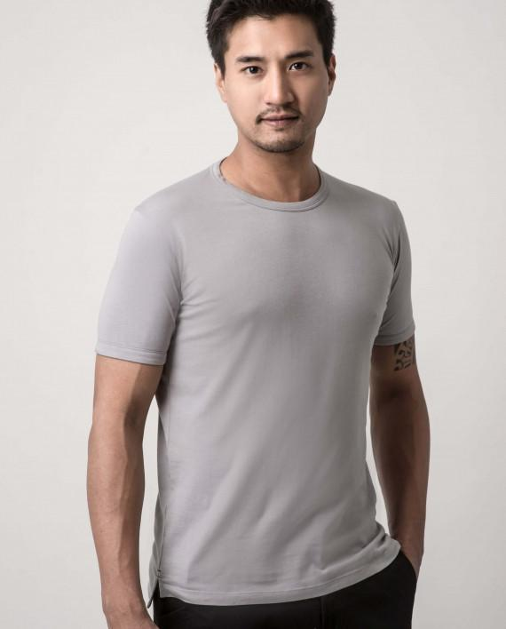 Asanoha Cool Grey Dappergami Plain Tee ATSS1513 - Men's T-shirts - Cut & Paste - Naiise