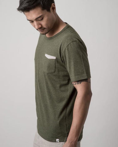 Asanoha Moss Green Dappergami Pocket Tee ATSS1511 - Men's T-shirts - Cut & Paste - Naiise