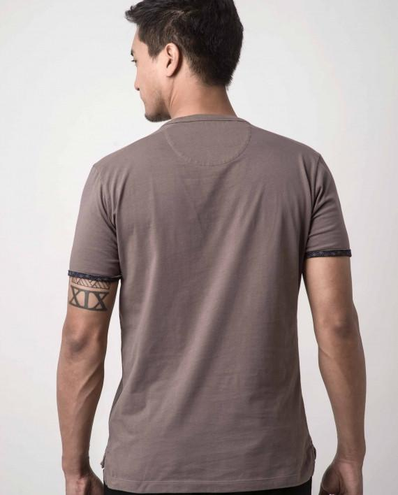 Asanoha Mustard Brown Dappergami Plain Tee ATSS1513 - Men's T-shirts - Cut & Paste - Naiise