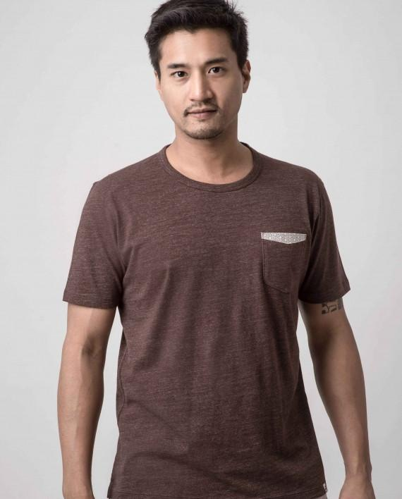 Asanoha Speckled Hickory Dappergami Pocket Tee ATSS1511 - Naiise