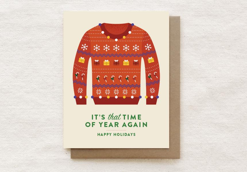 Assorted Holiday Sweaters Greeting Cards - Boxed Set of 8 cards - Christmas Cards - Quirky Paper Co. - Naiise