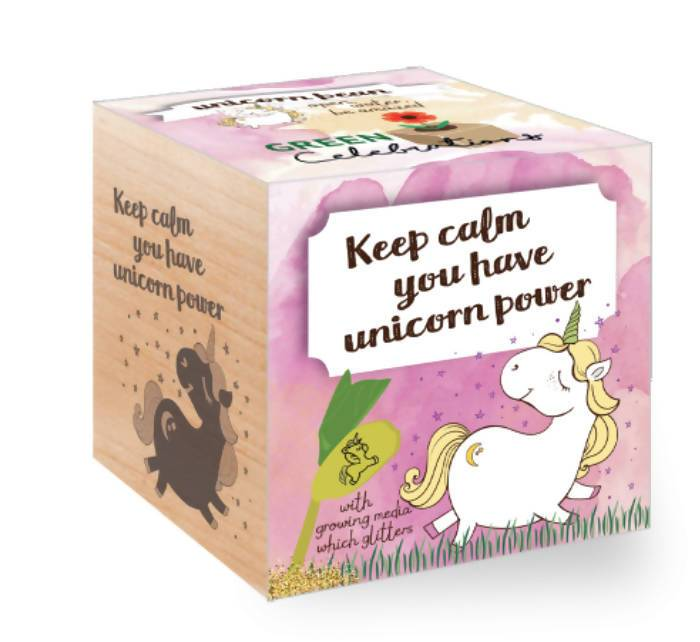 Ecocubes Feel Green Unicorn Bean - Keep Calm Plants The Planet Collection