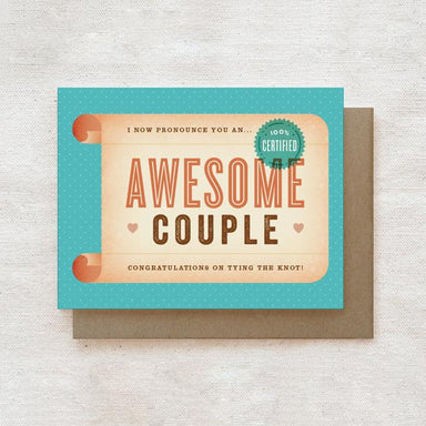 Awesome Couple Certificate - Engagement, Wedding Congratulations Greeting Card Wedding Cards Quirky Paper Co.