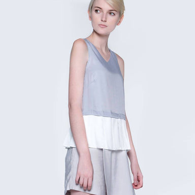 Axel Dual Colour Pleated Top in Xenon Blue Women's Tops Salient Label