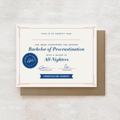 Bachelor of Procrastination - Graduation Greeting Card Graduation Cards Quirky Paper Co.