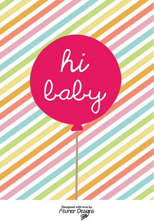 Balloon Hi Baby Card Love Cards Fevrier Designs