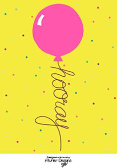 Balloon HOORAY Generic Greeting Cards Fevrier Designs