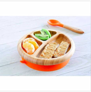Bamboo Stay Put Suction Baby Divided Plate + Spoon - Orange - Kids Utensils - The Children's Showcase - Naiise
