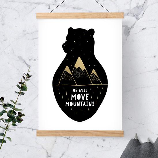 Bear – He Will Move Mountains Print - Kids Prints - Poppetry - Naiise
