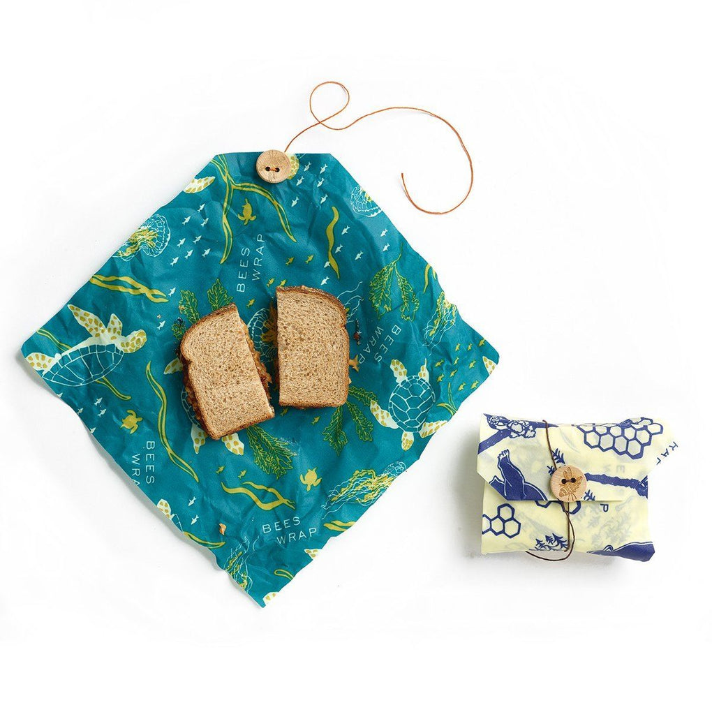 Bee's Wrap Pack of 2 Sandwich Wraps ( Wildlife) Beeswax Wrap Bee's Wrap