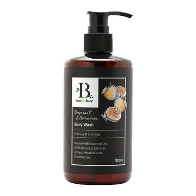 Bergamot & Geranium Body Wash Soaps Bare for Bare 300ml