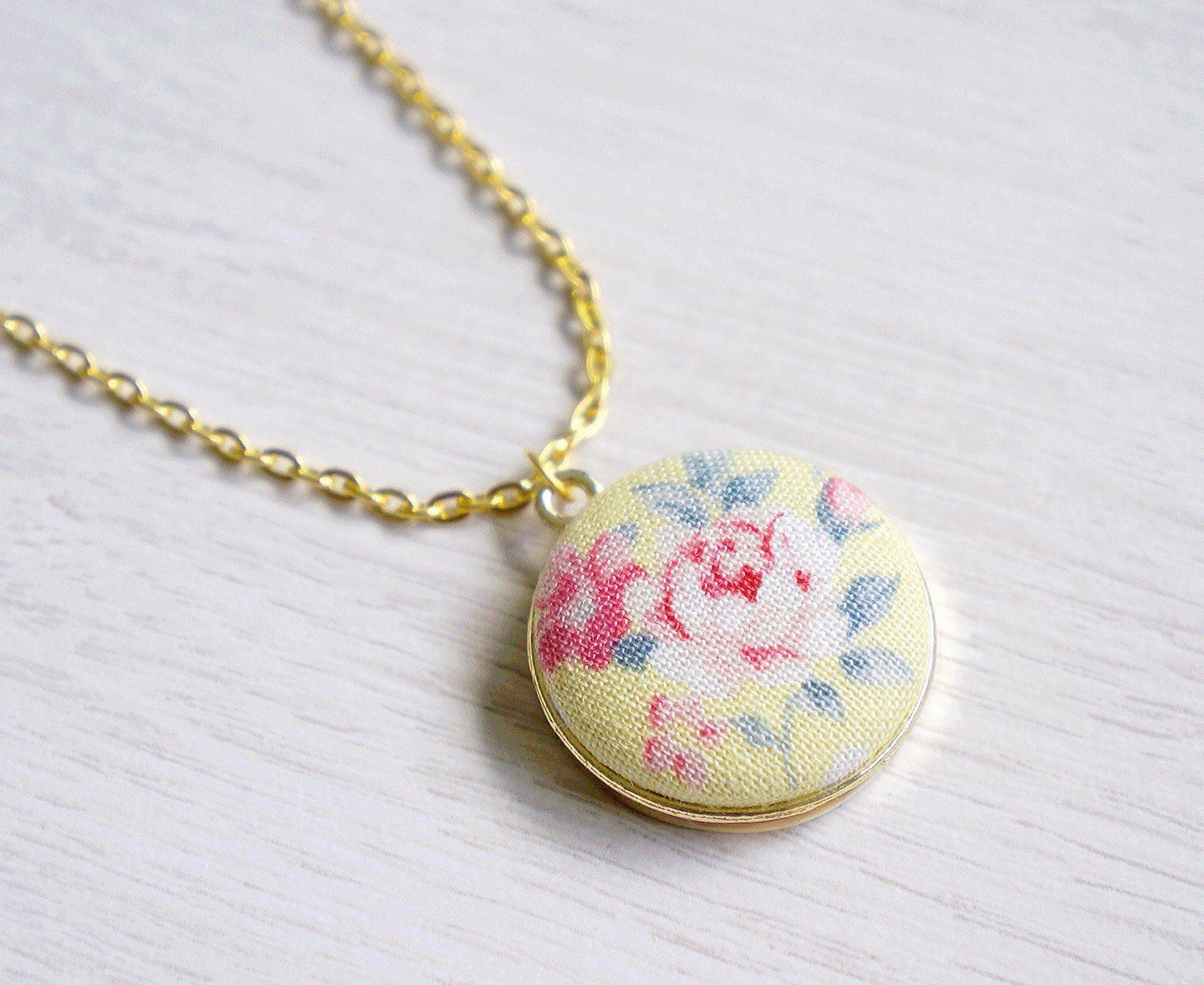Bethany Rose Handmade Fabric Button Necklace - Necklaces - Paperdaise Accessories - Naiise