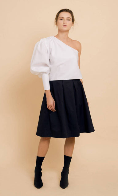 Bias Cut One shoulder Top with Bishop Sleeve - Tops - Silvia Teh - Naiise